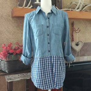 L.L. Bean Chambray Top with a Plaid Bottom